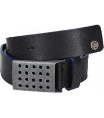 cinturón cuero liso borde pintado negro panama jack