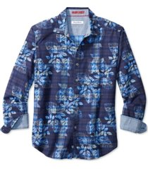tommy bahama men's jingle plaid rock classic-fit floral-print flannel shirt