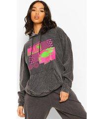 oversized overdye hoodie met tekst, charcoal