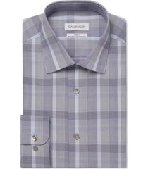calvin klein men's steel classic/regular-fit non-iron performance stretch plaid dress shirt