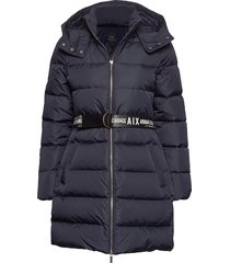 ax woman down jacket gevoerde lange jas blauw armani exchange