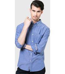 camisa nautica m/l azul - calce regular