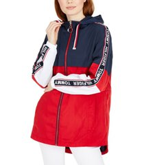 tommy hilfiger colorblocked logo tape zip jacket