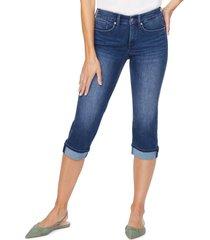 women's nydj marilyn cool embrace straight crop jeans, size 4 - blue