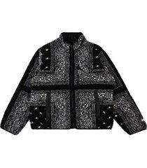 supreme reversible bandana fleece jacket - black
