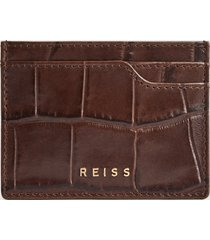 reiss charlie - leather croc embossed card holder in chocolate, mens