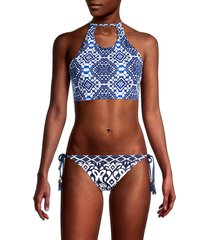tommy bahama women's printed halter bikini top - navy - size xl