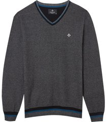 blusa dudalina manga longa tricot frizo gola v masculina (preto, xgg)