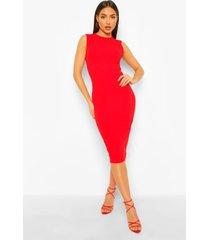 getailleerde midi jurk met uitgesneden rug, dark red
