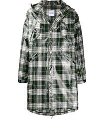 raglan united plaid hooded coat - green