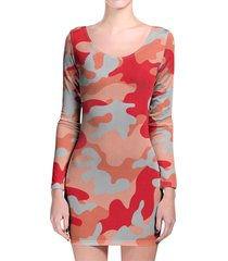 camouflage bright red longsleeve bodycon dress