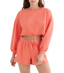 women's lucky brand cool for summer crop sweatshirt, size x-large - red