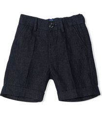 fay blue linen tailored shorts