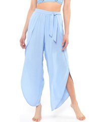 jessica simpson solid tie-waist cover-up beach pants women's swimsuit