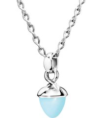 aqua chalcedony flamenco pendant in white gold