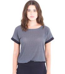 blusa adriana candido manga curta em malha estampada preto