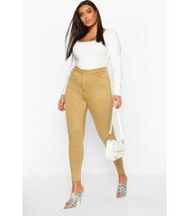plus stretch skinny jeans met hoge taille, khaki