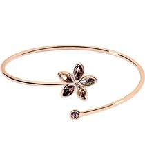 bracciale bangle in metallo rosato e pietre per donna