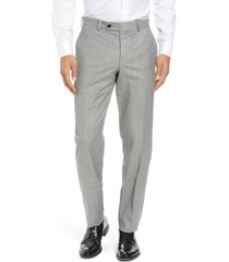 men's ted baker london jefferson flat front wool dress pants, size 30 x unhemmed - grey