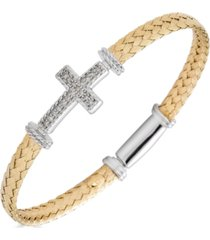 diamond east west cross woven link bracelet (1/5 ct. t.w.) in sterling silver & gold-plate