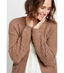 maurices womens solid bobble sleeve open front cardigan brown