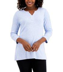 karen scott cotton split-neck tunic, created for macy's