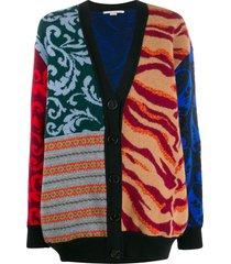 stella mccartney patchwork intarsia knit cardigan - neutrals
