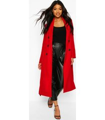 textured double breasted wool look coat, red