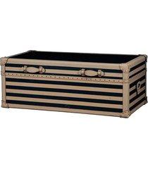 baú mesa de centro de madeira moscow com alças de couro