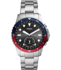 fossil men's hybrid smart watch fb-01 silver-tone bracelet watch 42mm
