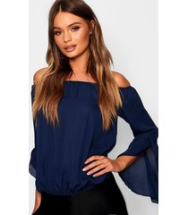 fluted frill sleeve off the shoulder top, navy