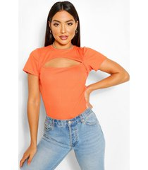 ribbed cut out capped sleeve top, orange