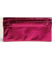 motivi borsa pochette a mano metallizzata donna rosa