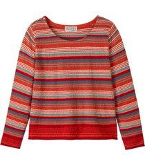 gestreepte pullover met rolzomen en ronde hals, rood-bont 44/46