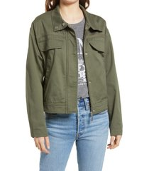 women's treasure & bond stand collar cotton twill jacket, size x-large - green