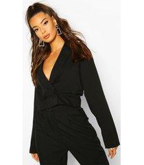 cropped boxy blazer, black