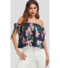 azul marino smocking diseño blusa con hombros descubiertos y estampado floral