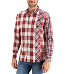 sun + stone men's pieced plaid shirt, created for macy's