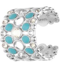 anello regolabile fascia larga in ottone rodiato cristalli e smalto azzurro per donna