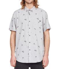 billabong sundays mini short sleeve button-down shirt, size small in light grey heath at nordstrom