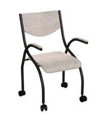 cadeira de escritório secretária colorado estofada preta e palha