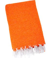 native yoga solid color woven blanket orange cotton