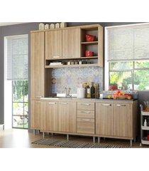 cozinha compacta completa multimã³veis com 4 peã§as sicãlia 5812 argila/argila - bege/incolor - dafiti