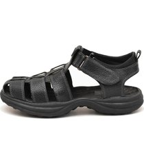 sandalia de cuero negra valentia calzados green