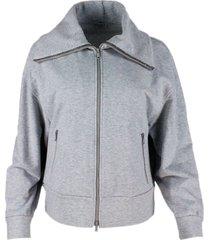 brunello cucinelli stretch cotton sweatshirt with wide collar with monili. zip closure