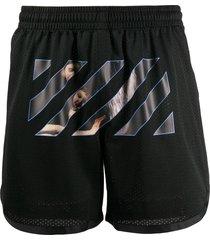caravaggio print mesh shorts