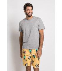 pijama manga curta acuo pijama manga curta amarelo