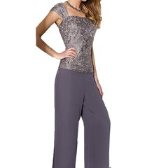 dislax 3 pieces mother of the bride pantsuits dresses with jacket grey us 18plus