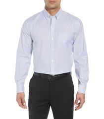 men's cutter & buck classic fit stripe stretch oxford shirt, size xxx-large - blue