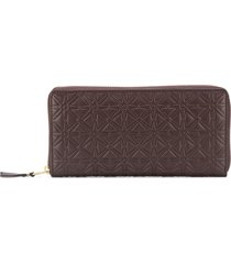 comme des garçons wallet embossed pattern wallet - brown
